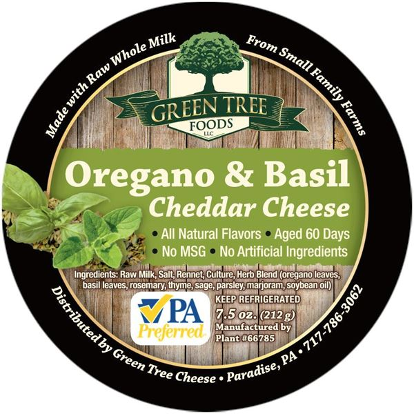 Picture of GREEN TREE OREGANO & BASIL CHEDDAR CHEESE